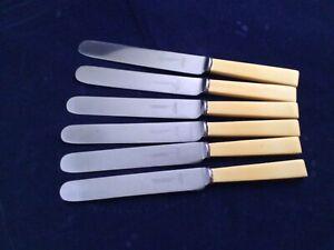 Rare-Edwin-Watson-Ltd-ALTRINGHAM-9-7-8-Dinner-Knives-Faux-Bone-Straight-Blade