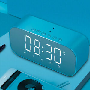 Wireless-Bluetooth-Speaker-FM-Radio-LED-Digital-Mirror-Alarm-Clock-AUX-Playback