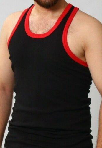 MENS GYM VEST BODYBUILDING MUSCLE STRINGER RIBBED VEST RACERBACK FITNESS
