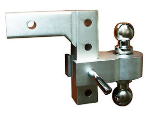 Aluminum-6-inch-Drop-Truck-Dual-Hitch-Ball-trailer-receiver-Adjustable-W-Balls