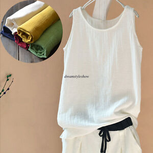 ea7efbfa7192 Image is loading Summer-Women-Cotton-Linen-Sleeveless-Loose-Vest-T-