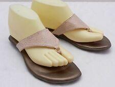Womens 5 INDIGO by CLARKS Beige Dotted Snakeskin Print Slide Thong Sandals