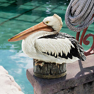 Coastal Decor Perched Pelican on Roped Piling Ocean Seaside Dock Sculpture