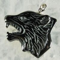 g0040 hematite wolf head pendant bead