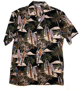 Aloha-Republic-Surfboards-Palm-Trees-Volcano-Hawaiian-Shirt-Size-Mens-Large-USA