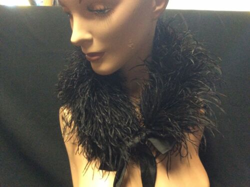 Antique Victorian Black Ostrich Feather Boa