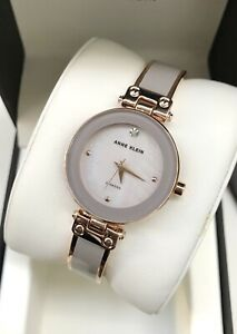 Anne Klein Watch * 1980TPRG Mother of Pearl Grey & Rose Gold Steel Bangle