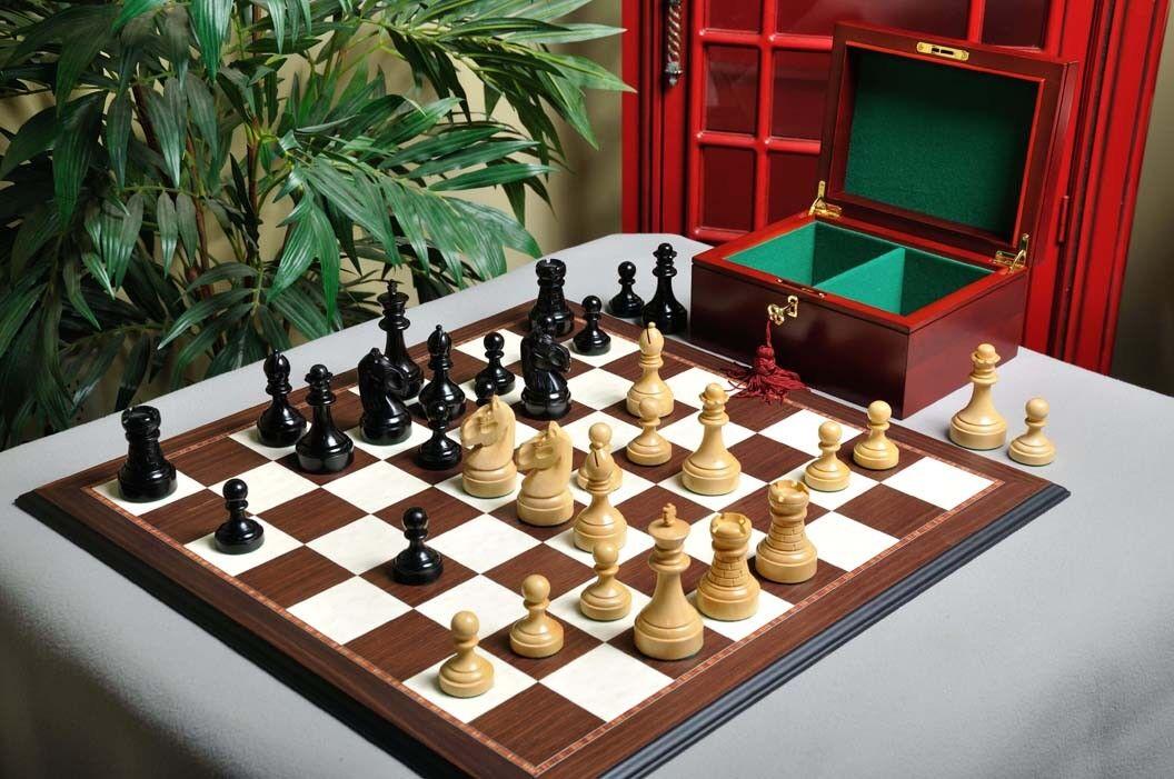The Mechanics Institute Chess set, Box, & Board Combination - Ebonized Boxwood