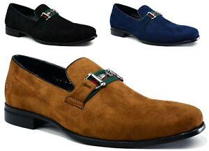 Men's Suede Smart Casual Slip On Loafers Designer Smart Formal Shoes UK Size