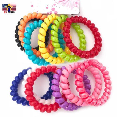 6pcs Girl Gel Stretch Plastic Spiral Phone Cord Hair Ties Band Coil High Quality