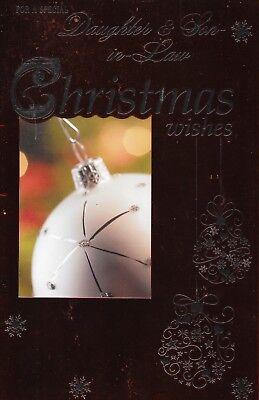 Bello Figlia E Genero Cartolina Di Natale, Metalc Rosso, Grande 7 X 11 Pollici, (c3)- Caldo E Antivento