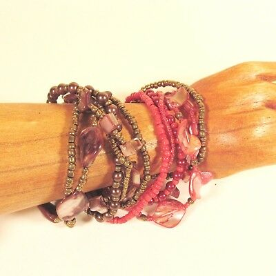 Rustic Bead Stretch Pearl Turquoise Red Gold Multi Layered Beaded Bracelet Set