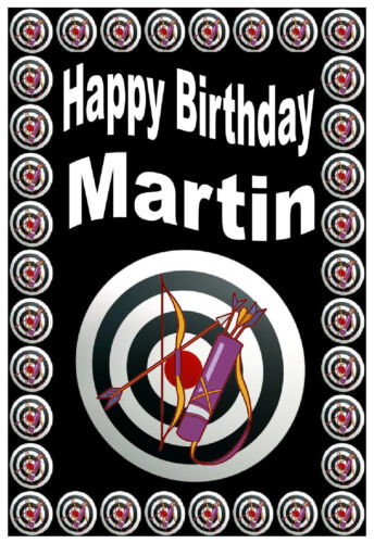 NEW ARCHERY ANY NAME PERSONALISED FUN BIRTHDAY CARD GLOSS FINISH