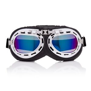 Silver-Blue-Flying-Motorcycle-Scooter-Goggles-Retro-Vintage-Steampunk-Glasses