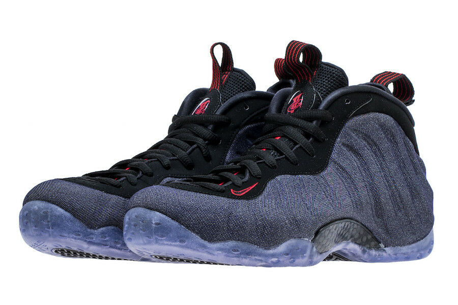 Nike Air Foamposite One SZ 7.5 Denim Obsidian Black University Red 314996-404
