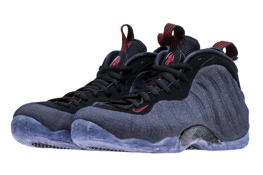 Nike Air Foamposite One SZ 9.5 Denim Obsidian Black University Red 314996-404