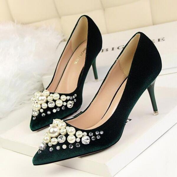 zapatos de salón zapatos de mujer elegantes verde perlas talón 8 cm