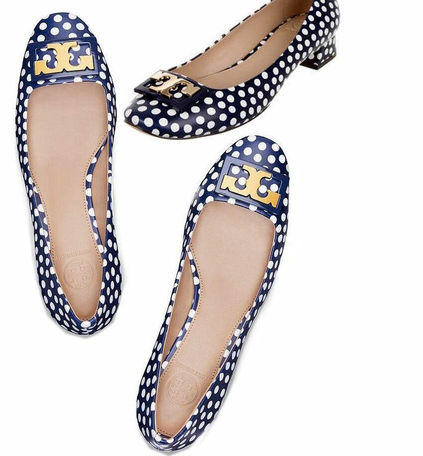 Tory Burch ' Gigi ' oro Logo  Low Heel Pump Polka Dot Navy scarpe 9.5  grande sconto