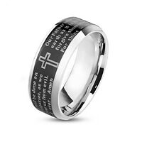 Stainless Steel Men's 8mm Black Lord Prayer Engraved Wedding Band Ring Size 9-13