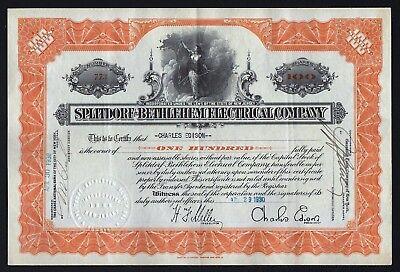 Stocks & Bonds, Scripophily Methodical 1930 Splitdorf-bethlehem Electrical Company Issued To/signed By Charles Edison