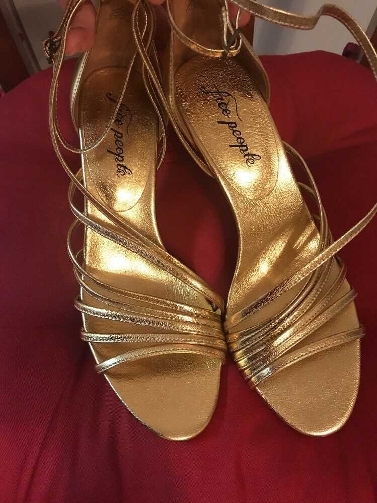 Free People Disco Fever Heel schuhe Sandal Sandal Sandal Gold Größe 39 New 307da9