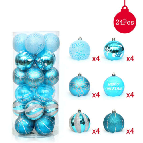 24pcs Christmas Tree  Hanging  Ball Baubles Xmas Hanging Party Ornament Decor US