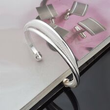Womens 925 Sterling Silver Plated 15mm Open Cuff Ball End Bangle Bracelet #BR222