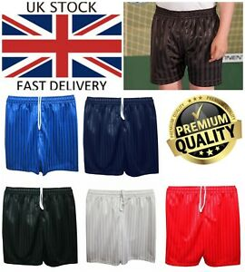 New UK Boys /& Girls Childrens Sports School P.E Striped Kids Football Shorts