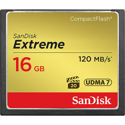 SanDisk 16GB 800x Extreme CompactFlash CF Memory Card (120MB/s) - Brand New