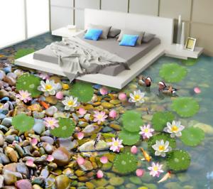 3D Stone River Pato Piso impresión de parojo de papel pintado mural 5 5D AJ Wallpaper Reino Unido Limón