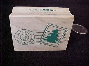 Merry-Christmas-Dec-25th-Wood-Mounted-Rubber-Stamp-OOP-Vintage-Postage-Stamp
