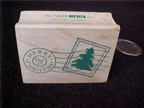 Merry Christmas Dec 25th Wood Mounted Rubber Stamp OOP Vintage Postage Stamp