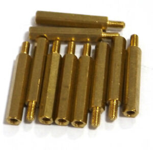 10-pcs-M3-x-25mm-Brass-Hex-Standoff-Pillar-Male-Female-with-nut