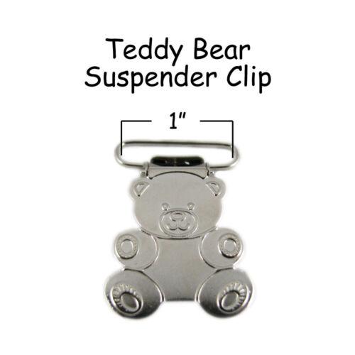 "Teddy Bear 1/"" w// Inserts 100 Suspender Paci Pacifier Holder Mitten Clips"