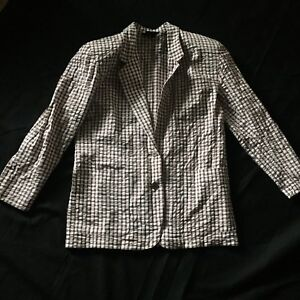 Vintage-Liz-Sport-Claiborne-Blazer-Woman-039-s-Medium-Gingham-Plaid-Check