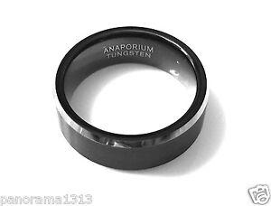 8MM Black Titanium Men Wedding Band,Comfort Fit Ring Band Titanium.Sizes 6-16.5
