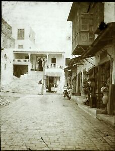 TUNISIE-Sidi-Bou-Said-c1900-Photo-Stereo-Vintage-Plaque-Verre-ABIME-VR7
