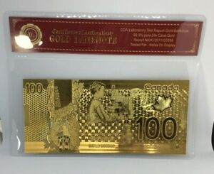 24KT-GOLD-Plated-100-BILL-BANKNOTE-CANADA-FREE-SHIP-CANADIAN-SELLER