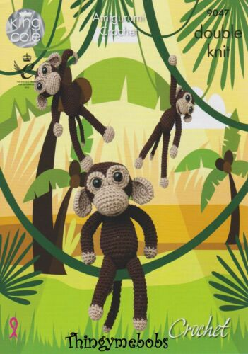 KING COLE 9047 CROCHET//AMIGURUMI CHIMPS//MONKEYS ORIGINAL CROCHET PATTERN