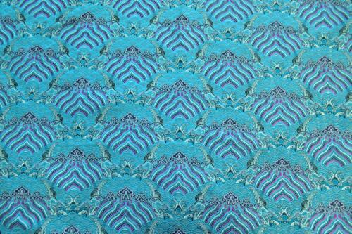 Jacquard Damask Kimono Fabric Material BL1 Faux Silk Brocade Cloud Paradise