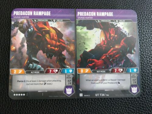 TRANSFORMERS WAVE 2 HOLO PREDACON RAMPAGE UT T34//T46 MINT RISE OF THE COMBINERS