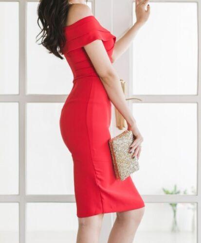 Elegante vestito abito donna slim corto tubino rosso rubino morbido 5039