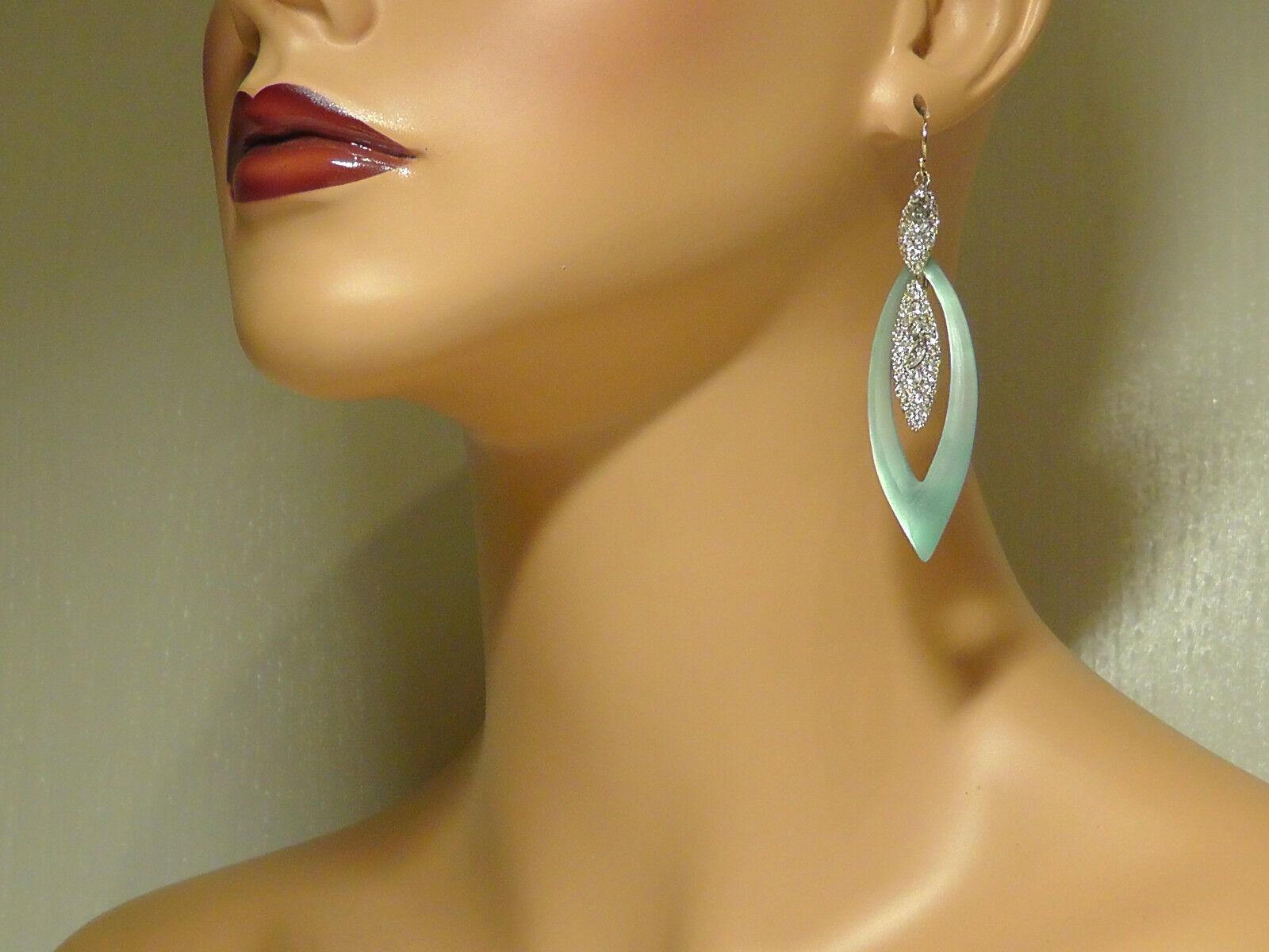 Alexis Bittar Light bluee green D'Eau Lucite & Crystal Marquis Drop Earrings.NEW