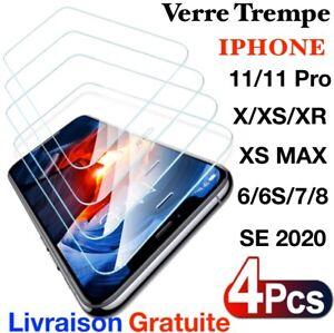 verre trempe 9H film protection ecran transparent pour iPhone 11/XR/XS/8/7/6S/SE