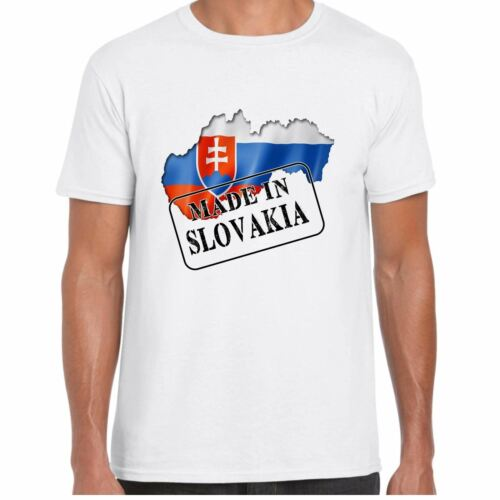 Mens T Shirt Flag and map Country Gift Tee Made in Slovakia