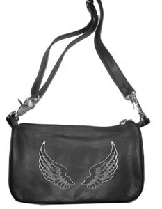 Studded Zipper Motorcycle Clip On Hip Purse Genuine Leather Belt Bag