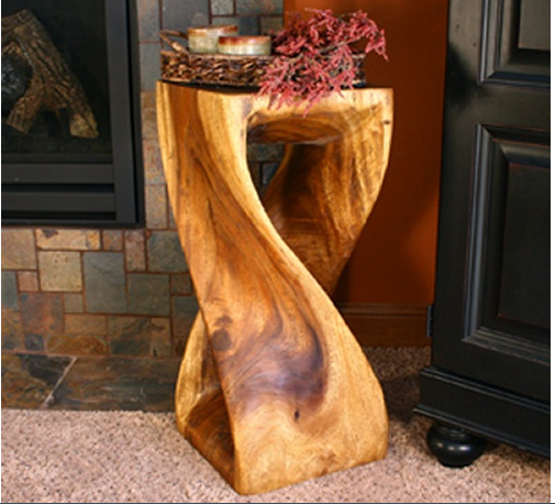 Wood End Table Log Cabin Style Plant Stand Stool Carved