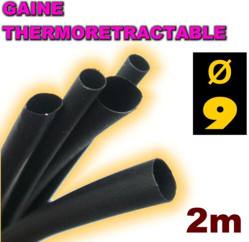 Gaine thermorétractable noire 9 mm 2m
