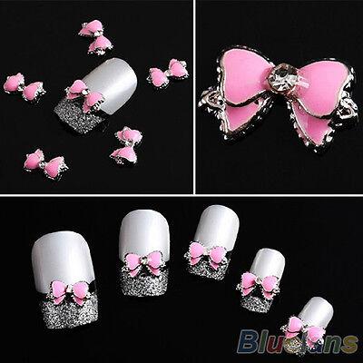 10Pcs 3D Pink Multi-Rhinestones Bow Tie Nail Art Decoration Stickers Diy BG6U