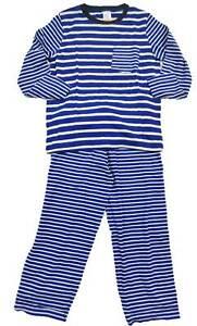 Mini Boden boys pyjama set blue white stripe jersey top bottoms age 2-12 new